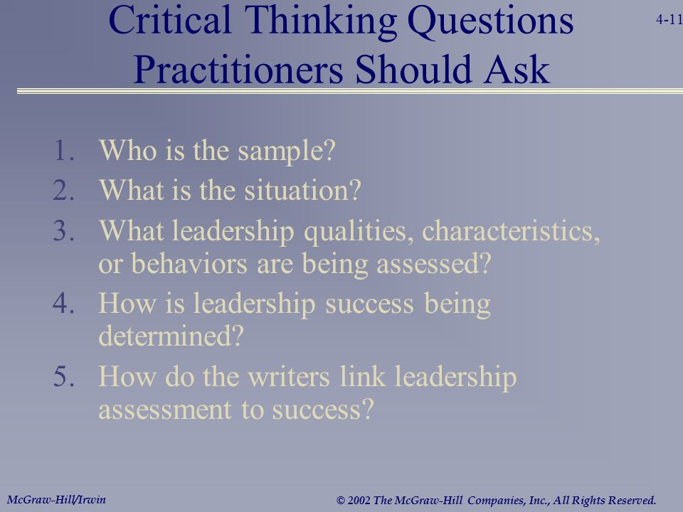 Critical Thinking Questions Practitioners Should Ask