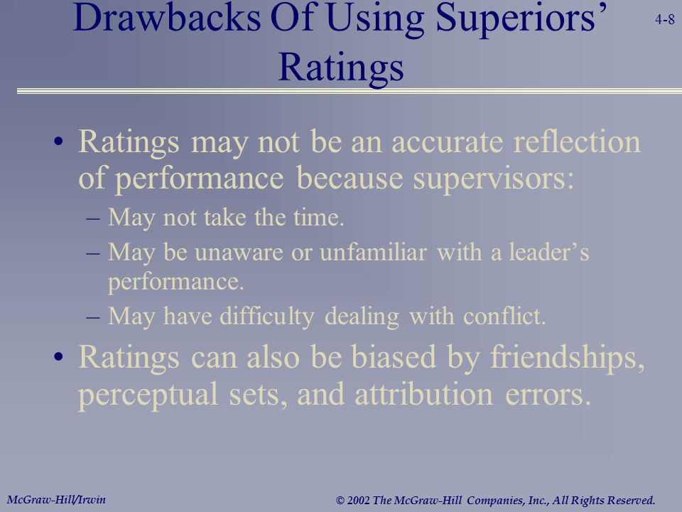 Drawbacks Of Using Superiors' Ratings