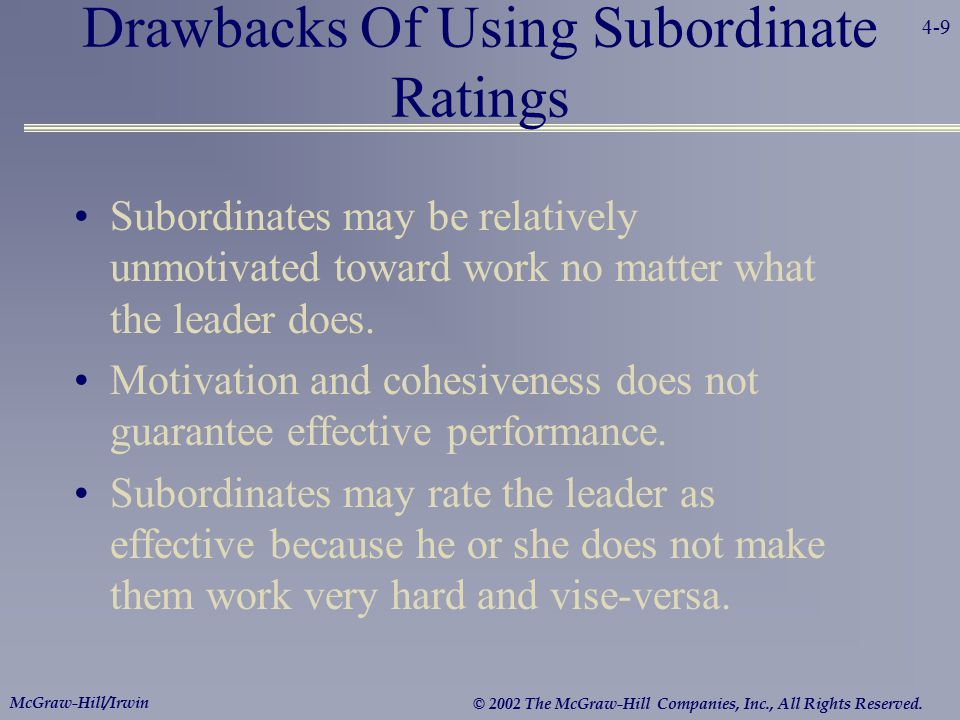 Drawbacks Of Using Subordinate Ratings