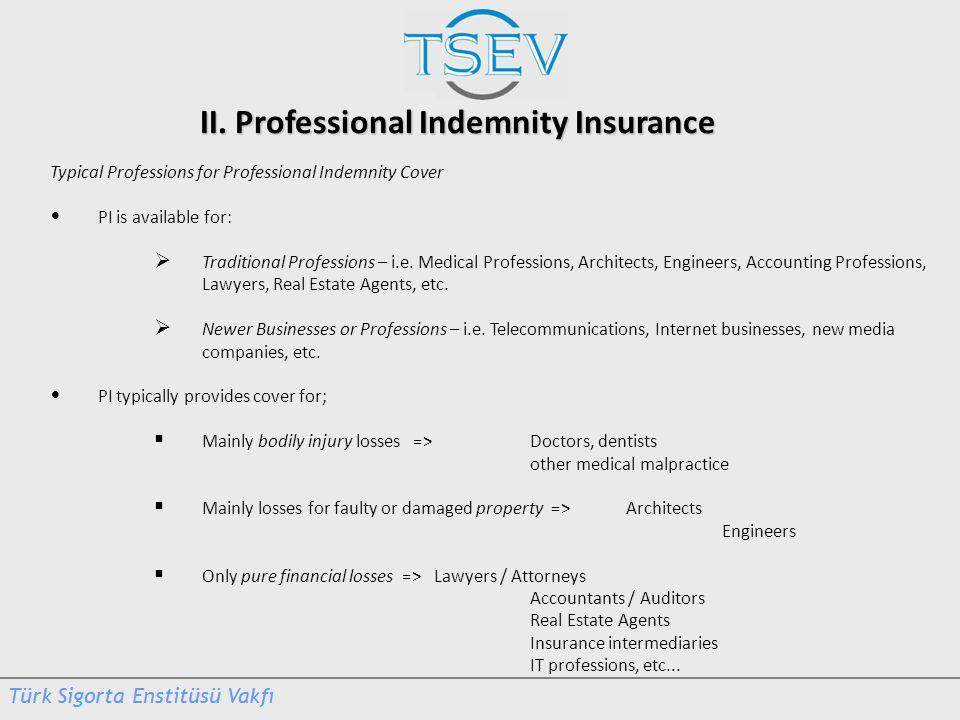 II. Professional Indemnity Insurance