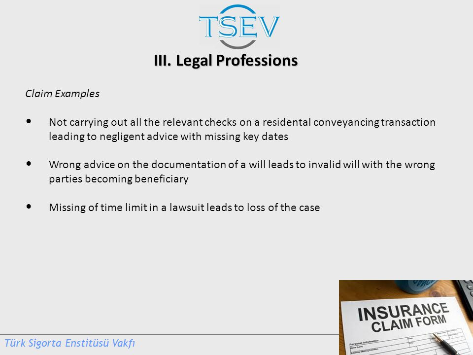III. Legal Professions Claim Examples