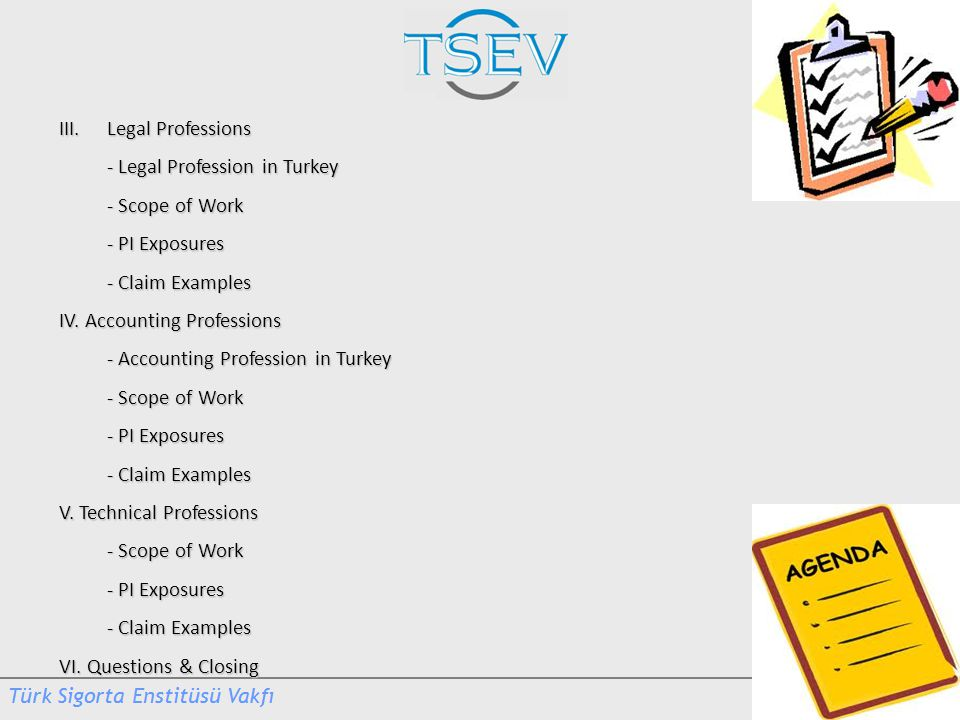 III. Legal Professions - Legal Profession in Turkey. - Scope of Work. - PI Exposures. - Claim Examples.