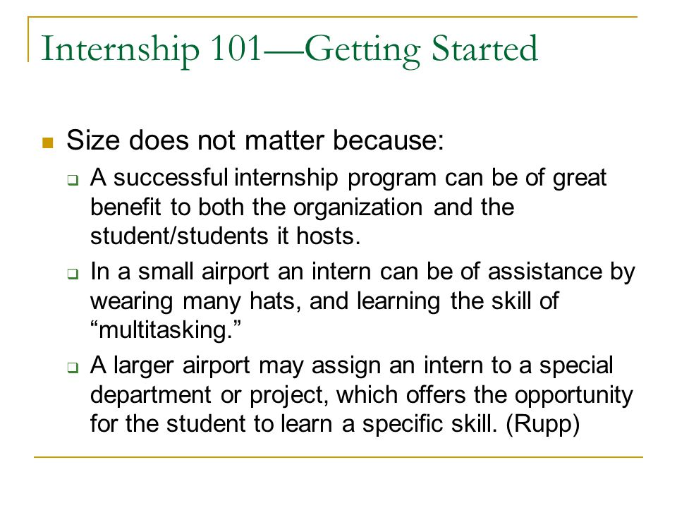 Internship 101—Getting Started