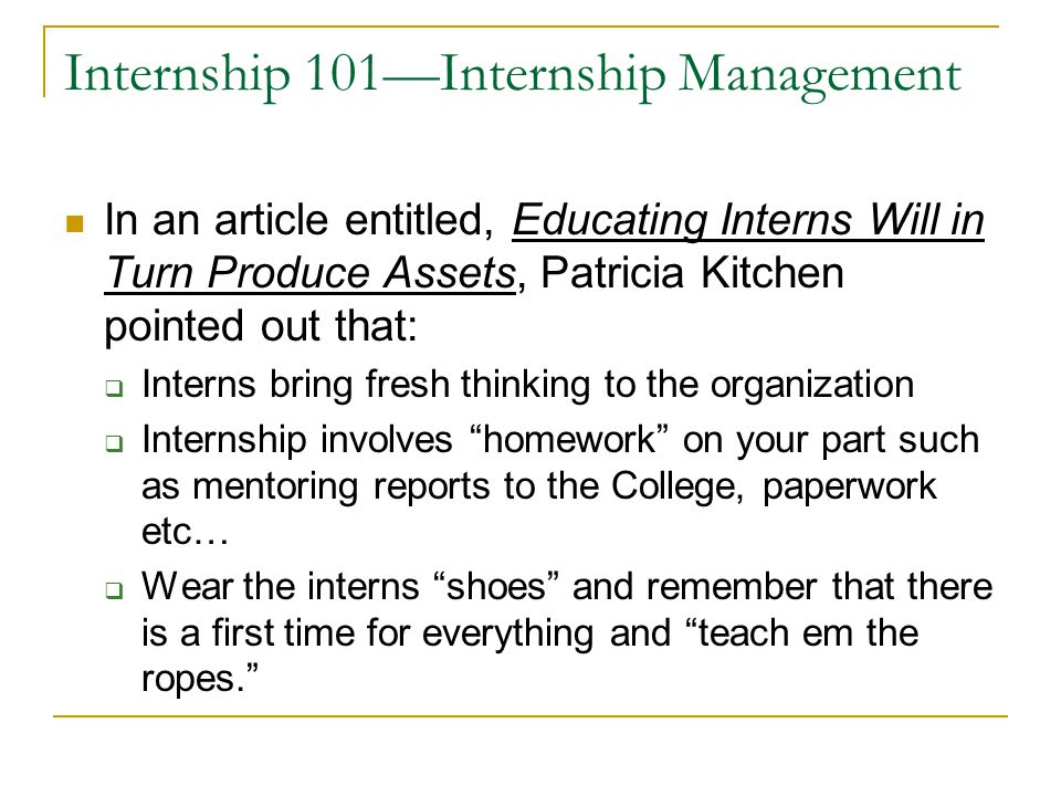Internship 101—Internship Management