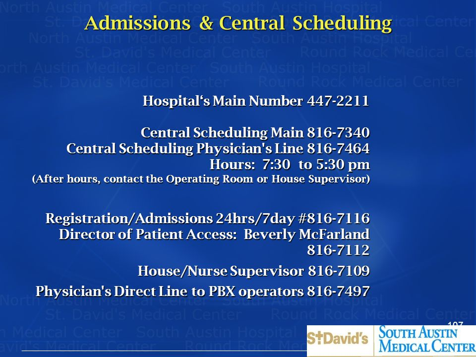Admissions & Central Scheduling