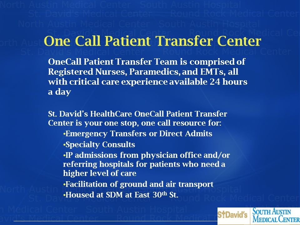 One Call Patient Transfer Center