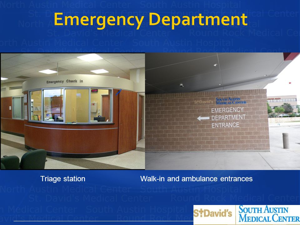 Triage station Walk-in and ambulance entrances