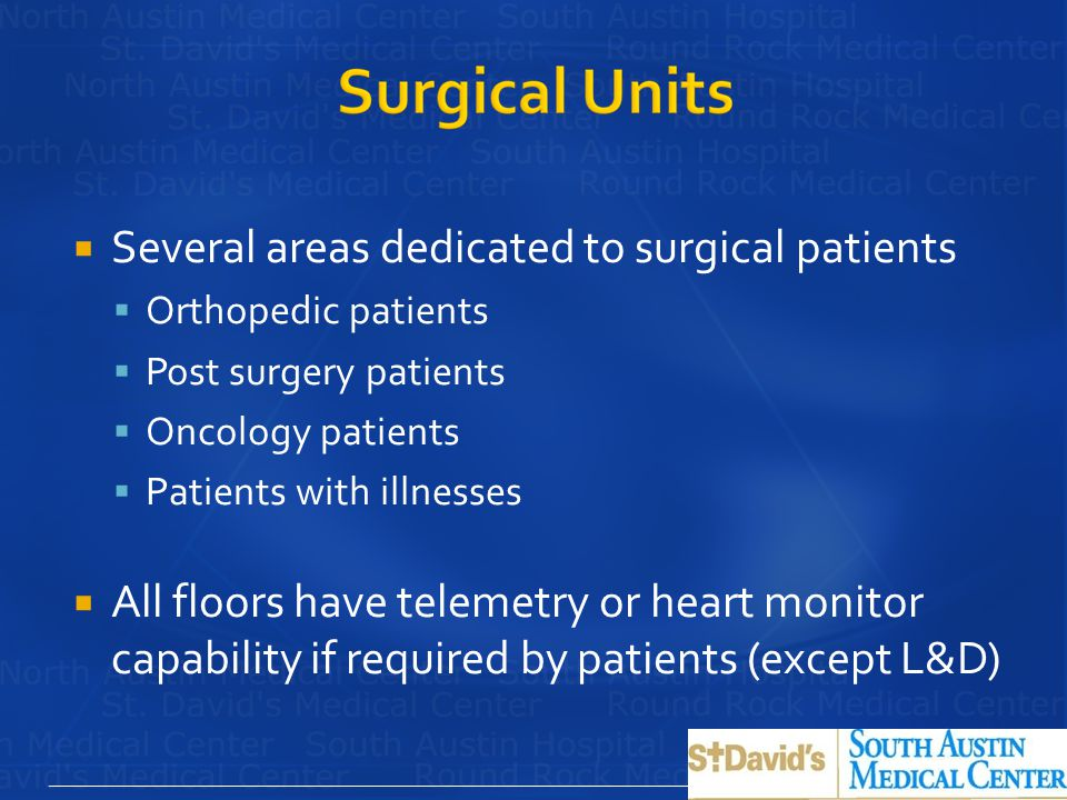 Several areas dedicated to surgical patients