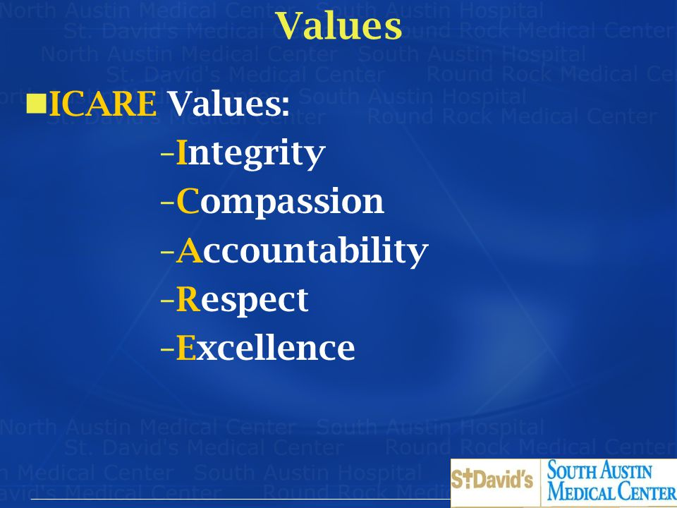 Values ICARE Values: Integrity Compassion Accountability Respect