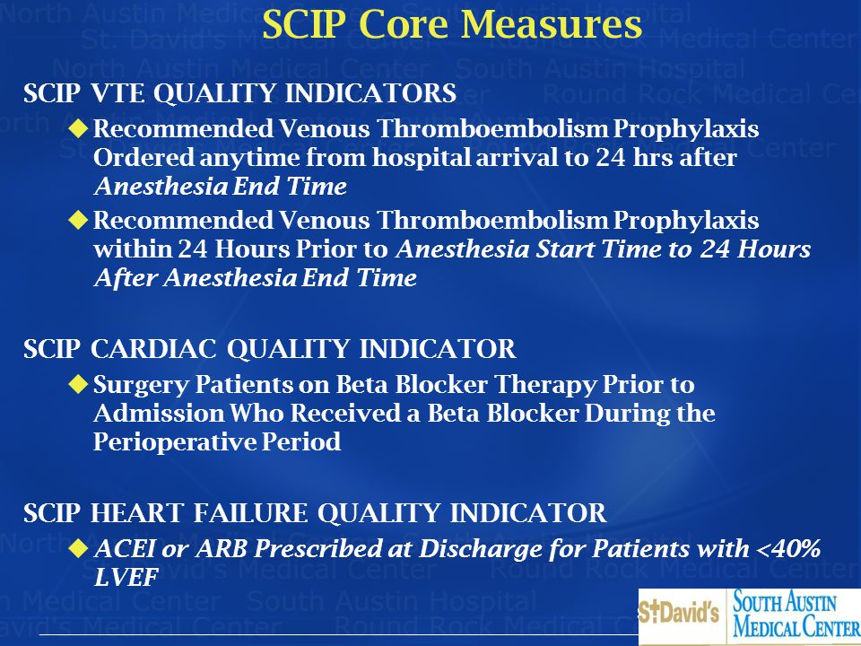 SCIP Core Measures SCIP VTE QUALITY INDICATORS