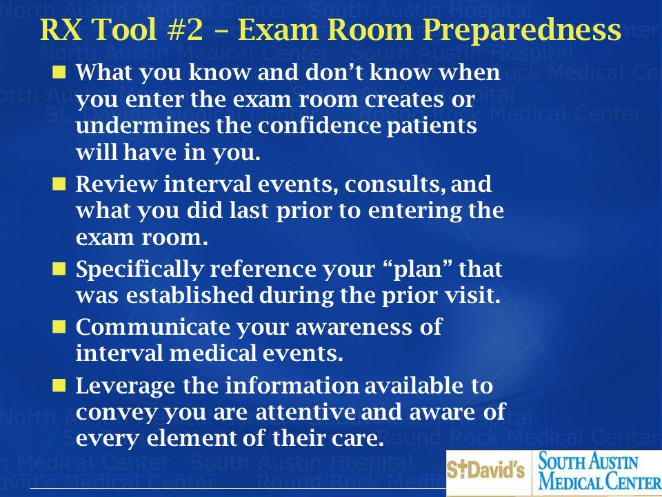 RX Tool #2 – Exam Room Preparedness