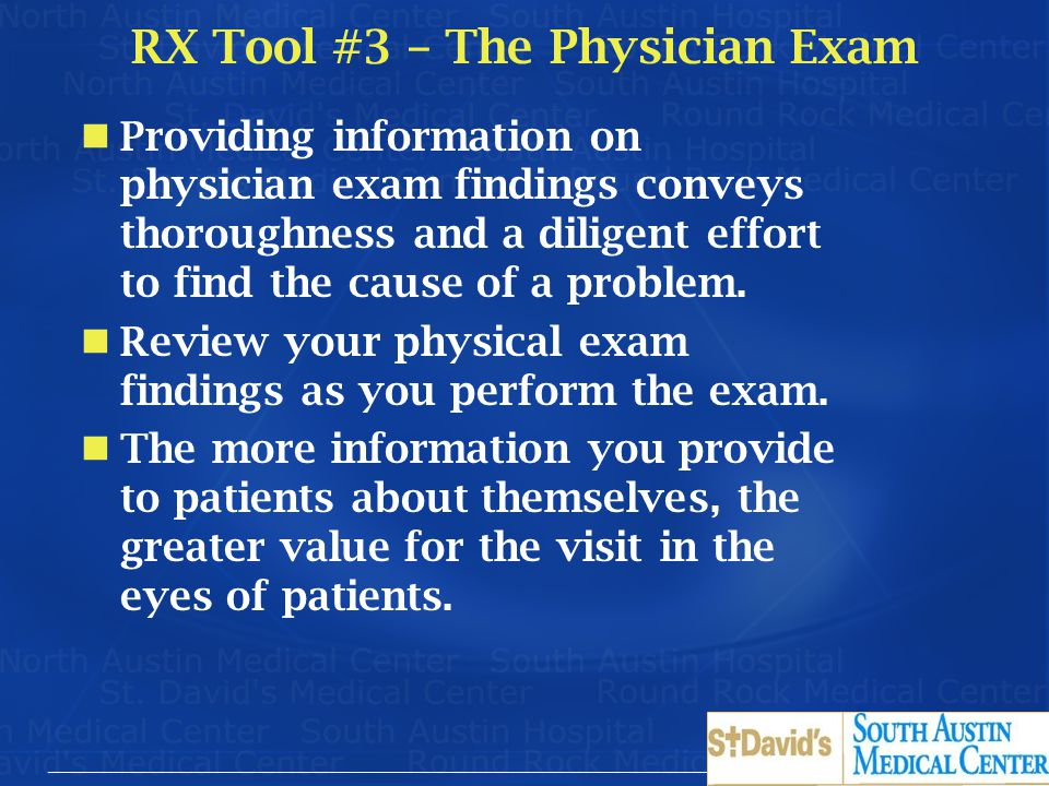 RX Tool #3 – The Physician Exam