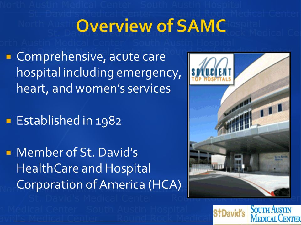 Comprehensive, acute care hospital including emergency, heart, and women's services