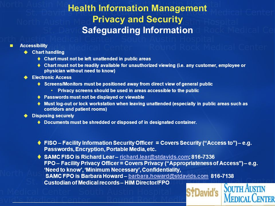Health Information Management Privacy and Security Safeguarding Information