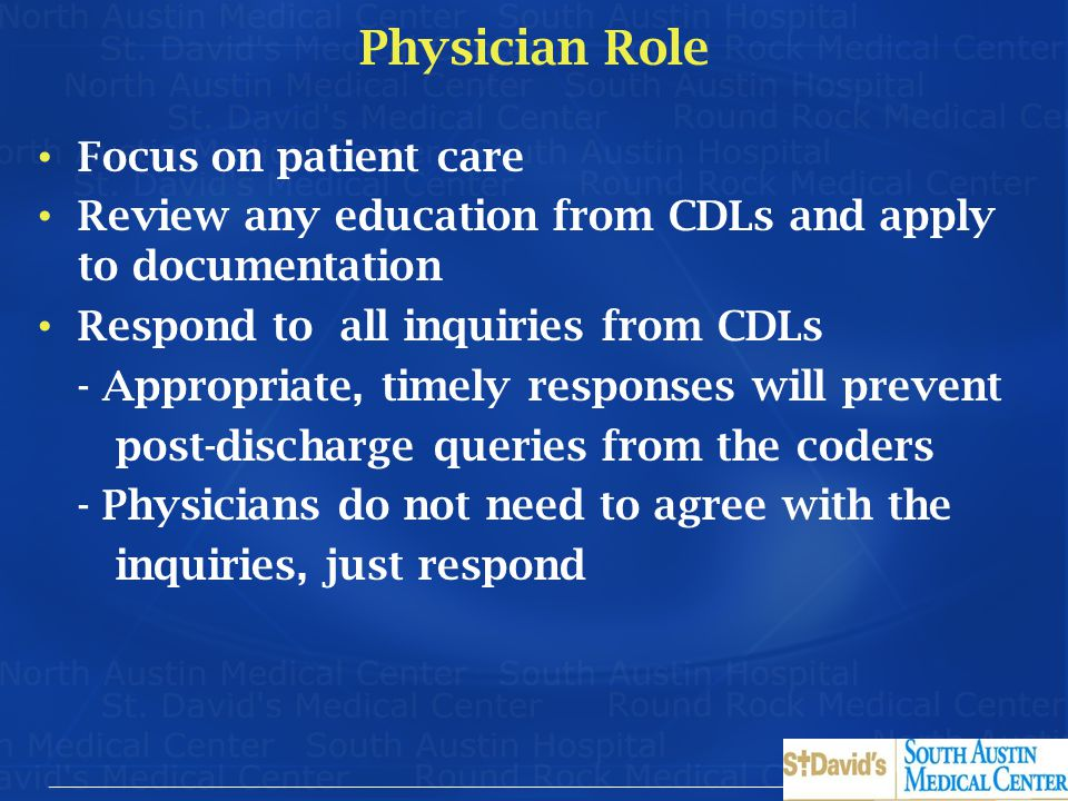 Physician Role Focus on patient care
