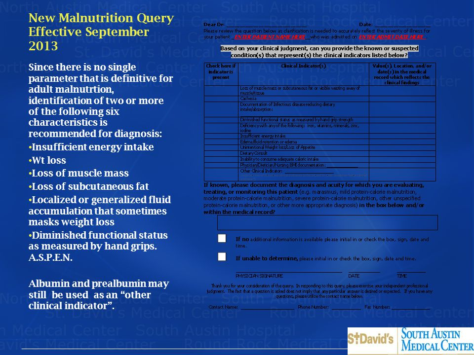 New Malnutrition Query Effective September 2013