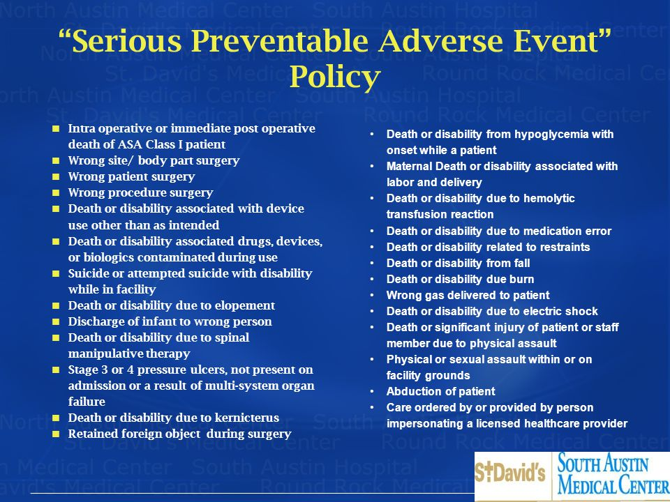 Serious Preventable Adverse Event Policy