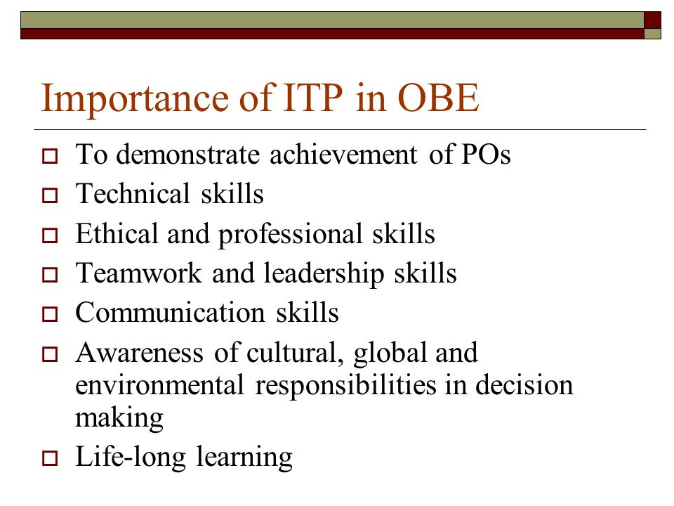 Importance of ITP in OBE