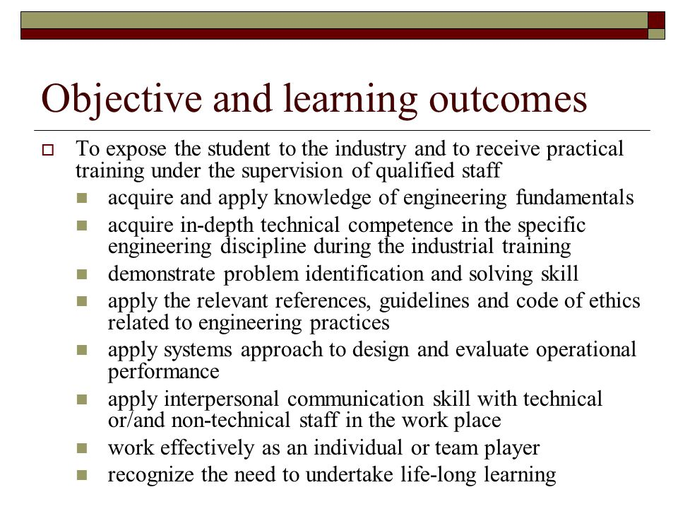 Objective and learning outcomes