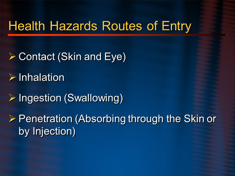 Health Hazards Routes of Entry