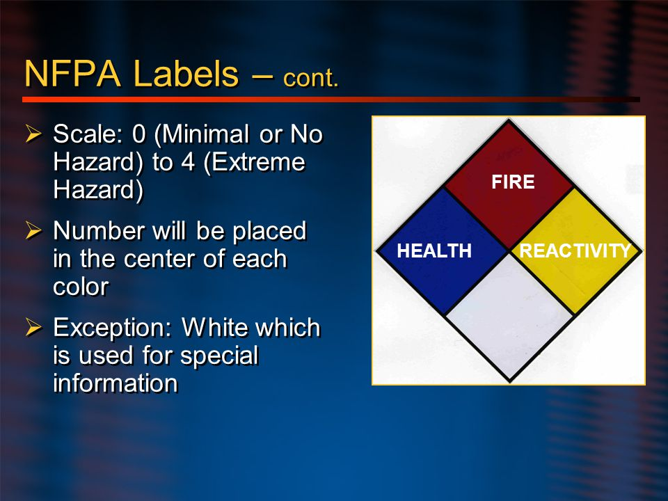 Hazard Communication NFPA Labels – cont. Scale: 0 (Minimal or No Hazard) to 4 (Extreme Hazard) Number will be placed in the center of each color.
