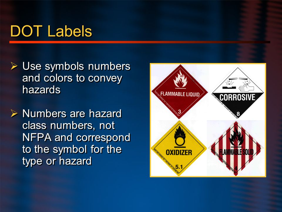 DOT Labels Use symbols numbers and colors to convey hazards