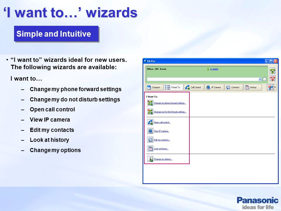 'I want to…' wizards Simple and Intuitive