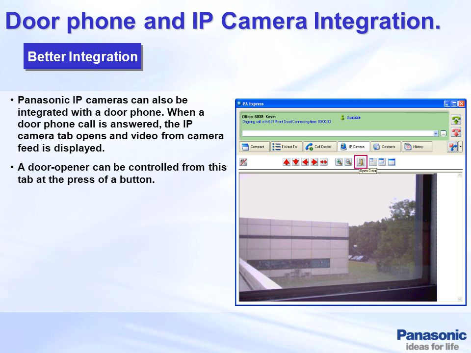 Door phone and IP Camera Integration.