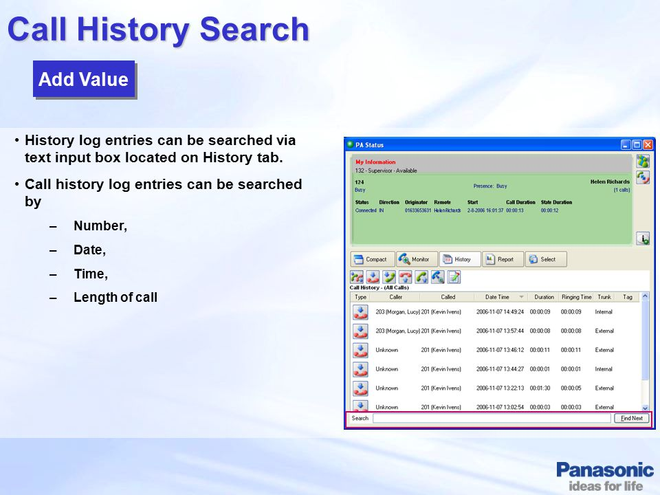 Call History Search Add Value