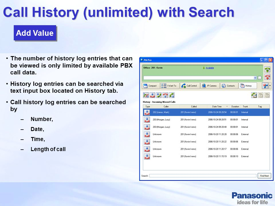 Call History (unlimited) with Search