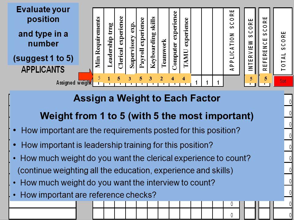 Assign a Weight to Each Factor