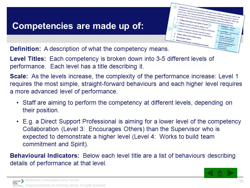 Competencies are made up of: