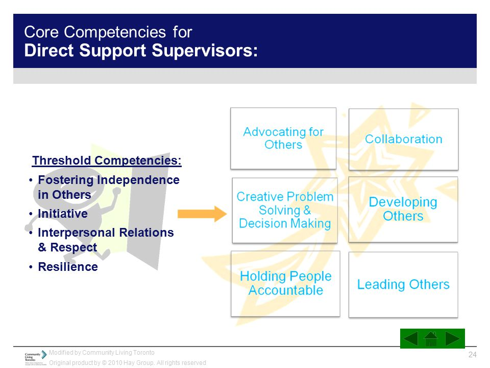 Core Competencies for Direct Support Supervisors: