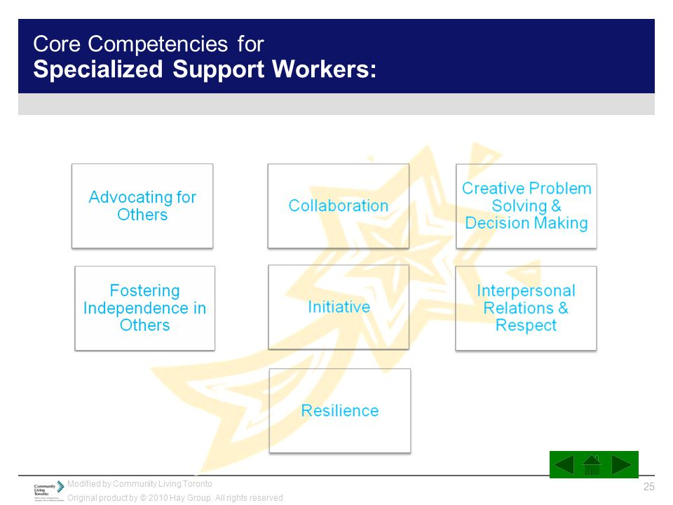 Core Competencies for Specialized Support Workers: