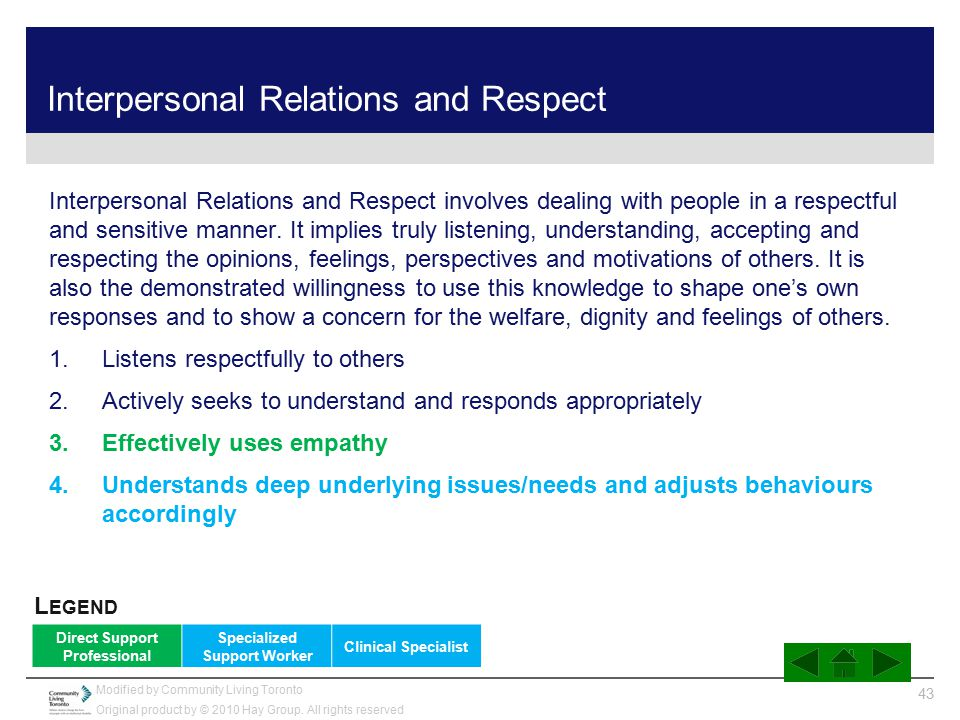 Interpersonal Relations and Respect