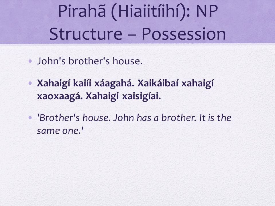 Pirahã (Hiaiitíihí): NP Structure – Possession