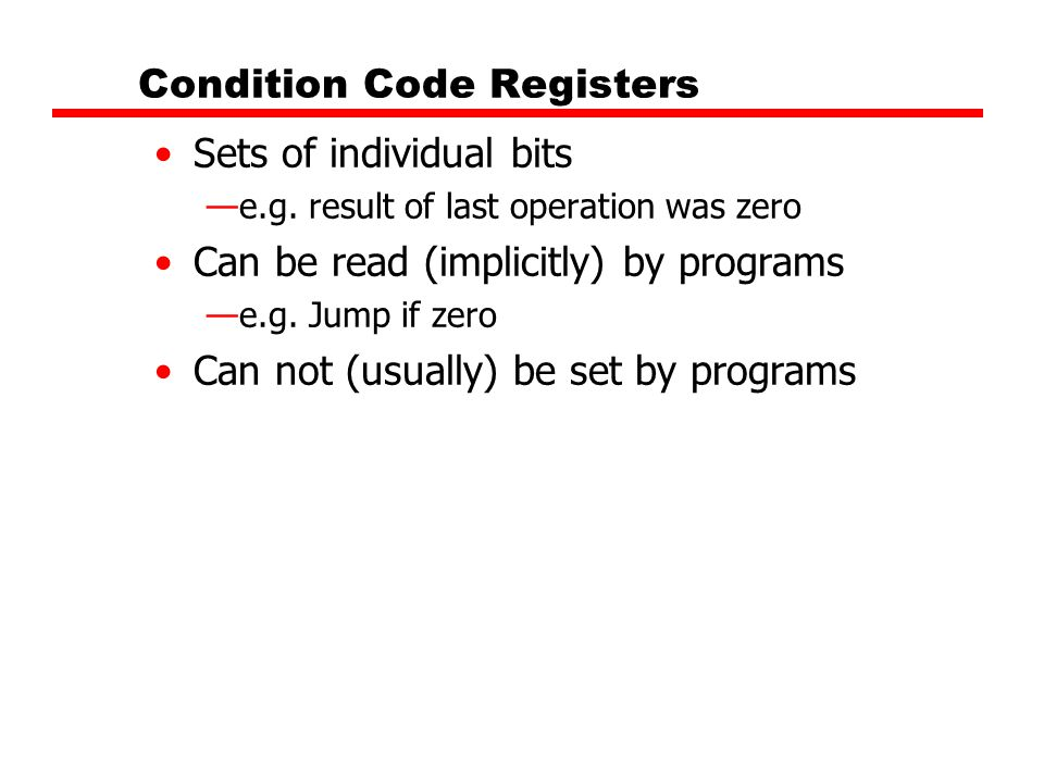 Condition Code Registers