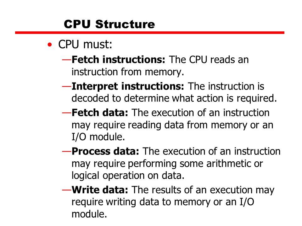 CPU Structure CPU must: