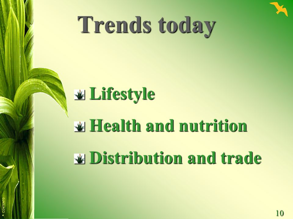 Trends today Lifestyle Health and nutrition Distribution and trade
