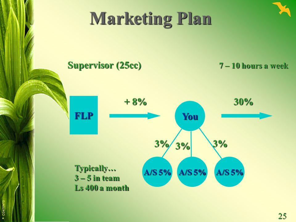 Marketing Plan Supervisor (25cc) + 8% 30% FLP You 3% 3% 3%