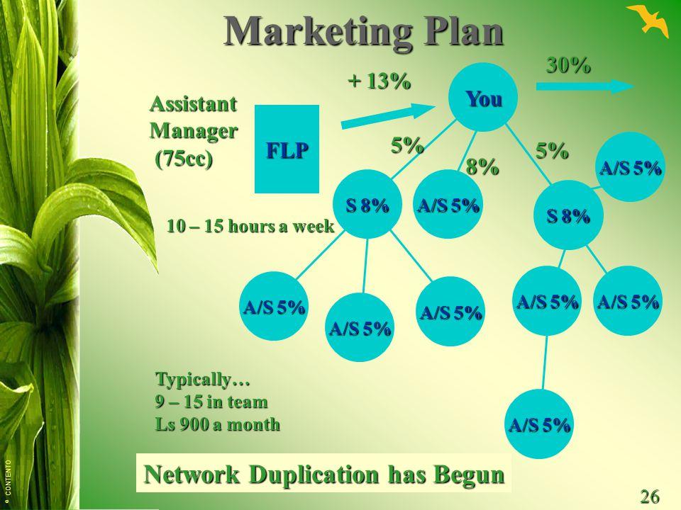Marketing Plan Network Duplication has Begun 30% + 13% You Assistant