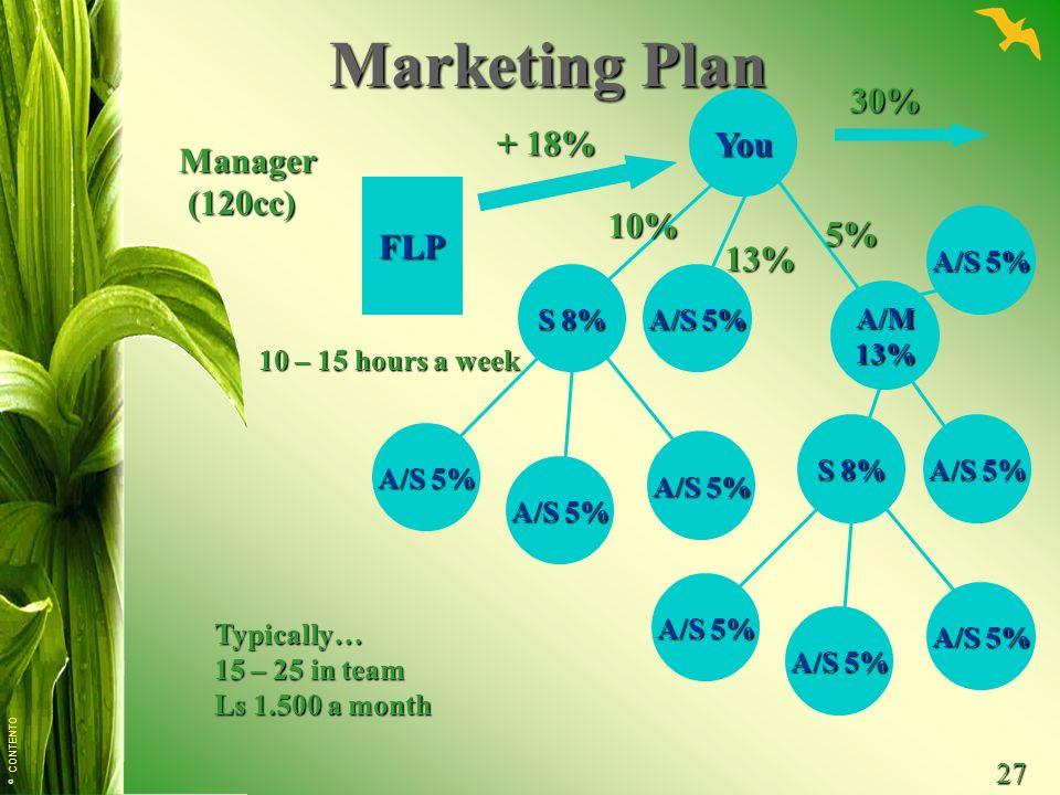 Marketing Plan 30% You + 18% Manager (120cc) FLP 10% 5% 13% A/S 5%