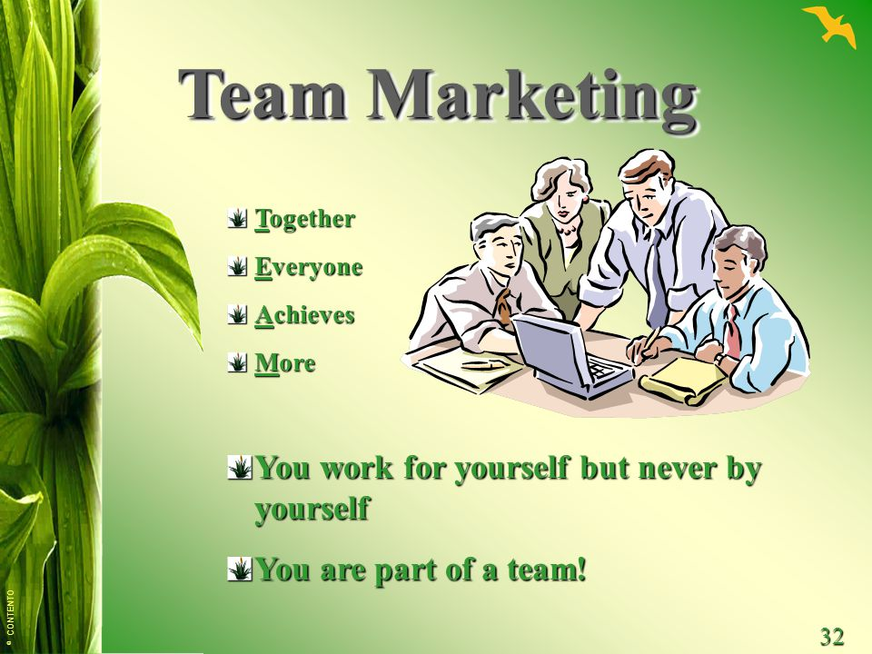 Team Marketing You work for yourself but never by yourself