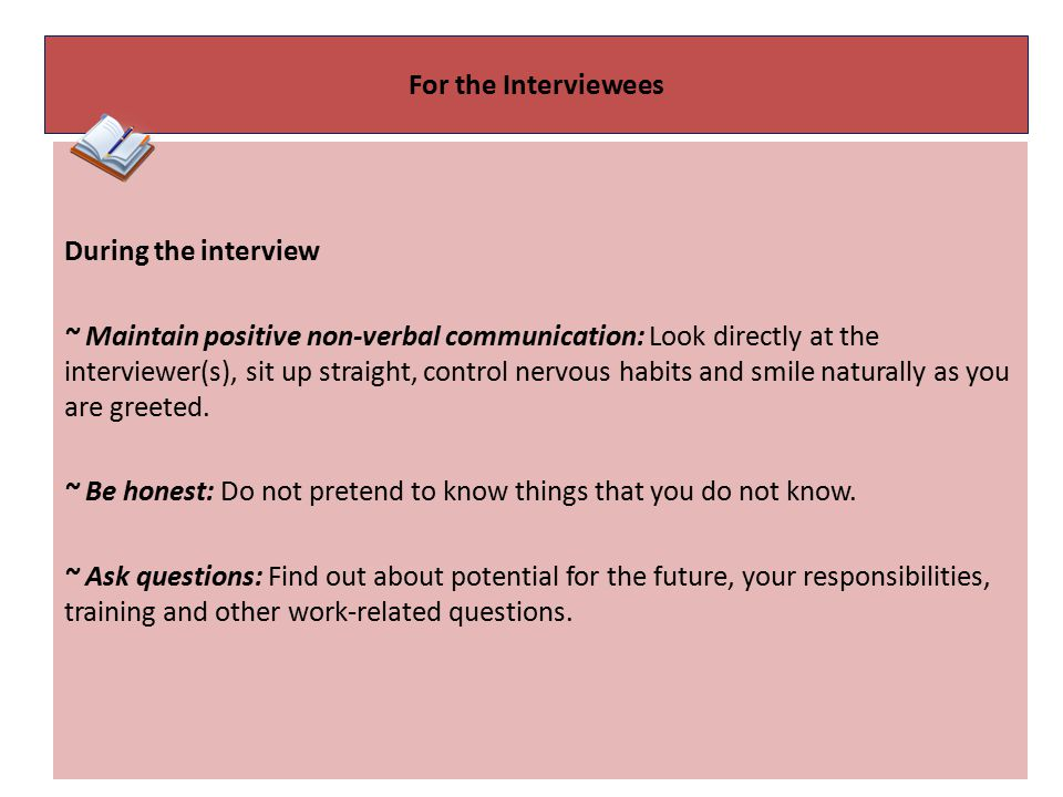 For the Interviewees