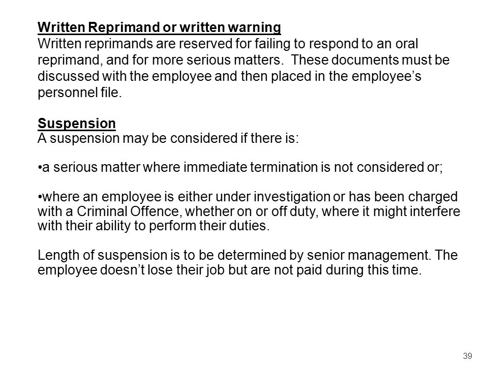 Written Reprimand or written warning