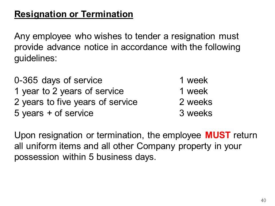 Resignation or Termination
