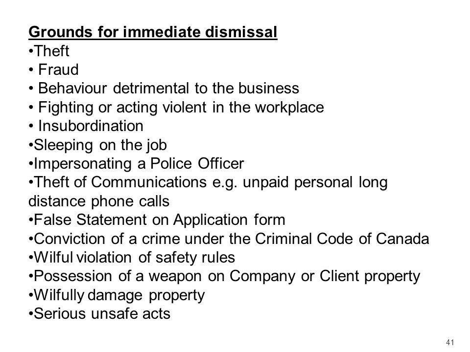 Grounds for immediate dismissal