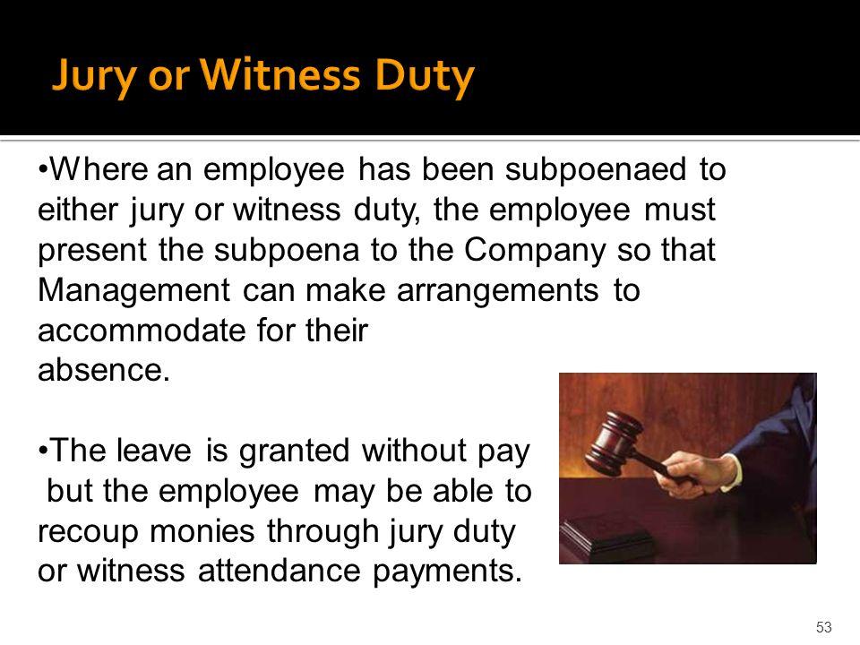 Jury or Witness Duty