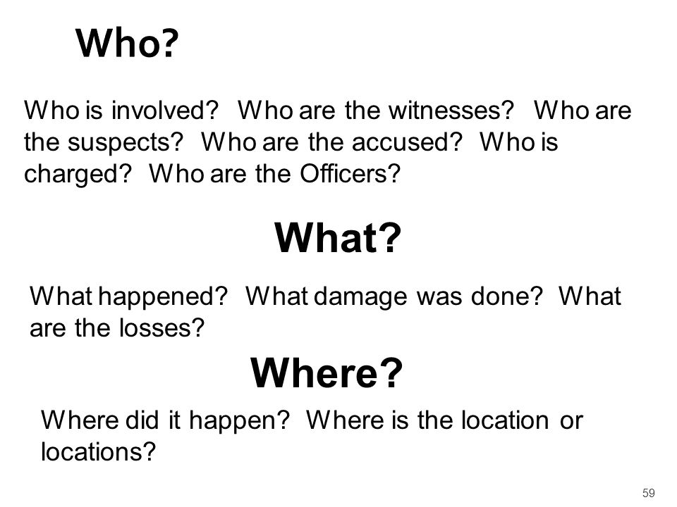Who Who is involved Who are the witnesses Who are the suspects Who are the accused Who is charged Who are the Officers