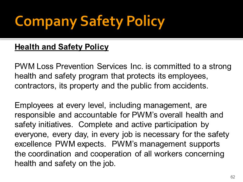 Company Safety Policy Health and Safety Policy